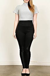 PLUS LEATHER TRIM LEGGINGS