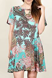 PAISLEY PRINT KNIT TRAPEZE DRESS