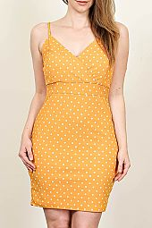 PLUS POLKA DOT CAMI BODYCON DRESS