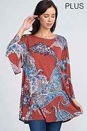 PLUS PAISLEY TRAPEZE TUNIC TOP