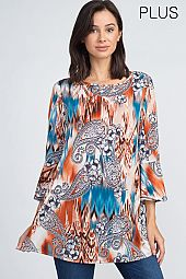 PLUS TIE DYE PAISLEY TUNIC TOP