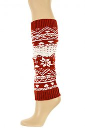 WINTER PATTERN KNIT LONG LEG WARMER