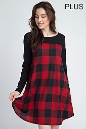 PLUS SOLID SLEEVES PLAID DRESS