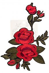 RED EMBROIDERED ROSE VINE PATCH