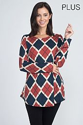PLUS DIAMOND CHECKER PRINT LONG SLEEVES TOP