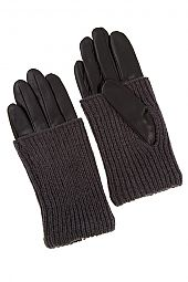 FAUX LEATHER AND KNIT FASHION GLOVE
