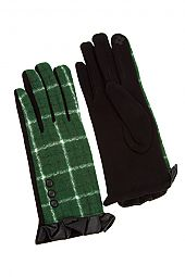 TARTAN PATTREN RUFFLED LEATHER END GLOVE