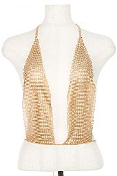 ROUND PAVE RHINESTONE LINK BACKLESS TOP BODY CHAIN