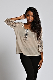 CROCHET ACCENT SLEEVE AND NECKLINE KNIT TOP