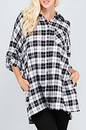 PLAID WOVEN BUTTON DOWN SHIRT