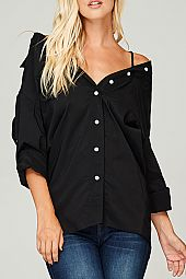 LOOSELY FIT BUTTON DOWN BLOUSE