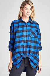 PLAID BOXY SHIRT BLOUSE