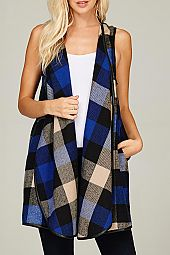 BIG PLAID OPEN VEST