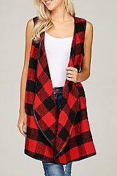 FAUX LEATHER TRIM PLAID PRINT VEST