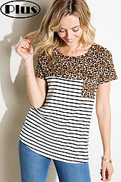 PLUS STRIPE ANIMAL MIX FRONT POCKET SHORT SL PLUS TOP