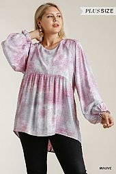Cuffed Long Sleeve Round Neck Babydoll Top
