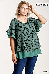 Dalmatian Print Short Ruffle Sleeve Layered Top