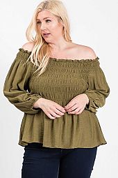 SMOCKING OFF SHOULDER TOP