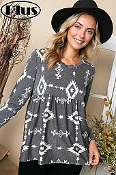 FRENCH TERRY AZTEC PRINT V NECK BABYDOLL PLUS TOP