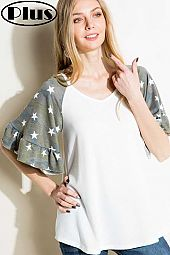 TERRY CAMOUFLAGE MIX RUFFLED HALF SLEEVE PLUS TOP