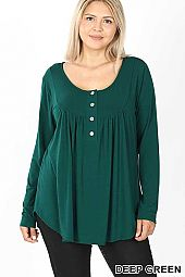 PLUS HENLEY NECK WITH YOKE SHIRRING TOP
