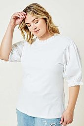 Plus Ribbed Mock Neck Puff Sleeve Top