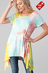 TIE DYE ASYMMETRICAL TUNIC PLUS