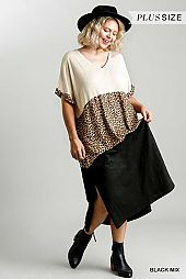 Animal Print Colorblock Short Sleeve Maxi Dress