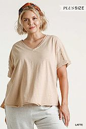 V-Neck Raw Edged Hem Detail High Low Hem Top