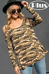 CAMOUFLAGE LONG SLEEVE WITH LADDER DETAIL PLUS TOP