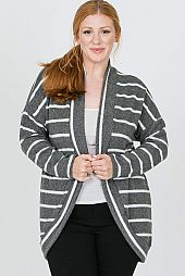 PLUS STRIPE KNIT OPEN CARDIGAN