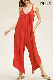 PLUS WIDE LEG JERSEY JUMPSUIT