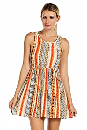 ETHNIC PRINT JERSEY FIT AND FLARE DRESS
