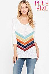 Plus size Chevron knit v neck short sleeve top
