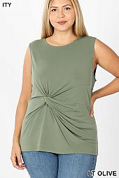 PLUS ITY KNOT-FRONT SLEEVELESS TOP