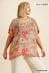 Floral Print Round Neck with Ruffle Edge Top