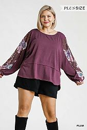 Multicolored Floral Lace Pull Sleeve Top