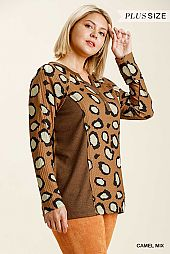 Half Button Front Long Sleeve Waffle Knit Top