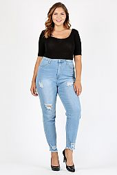 FRAYED HEM DISTRESSED SKINNY JEGGINGS