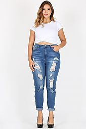 PLUS CUFFED HEM DISTRESSED SKINNY DENIM