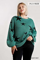 Star Pattern Round Neck Puff Sleeve Pullover Sweater