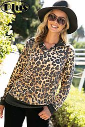 TERRY CHEETAH MIXED ZIPPER UP TURTLE NK PLUS TOP