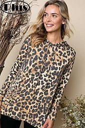 TERRY CHEETAH PRINT LONG SLEEVE HOODIE PLUS TOP