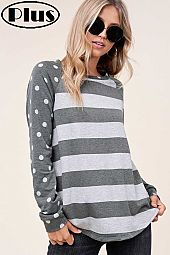 TERRY POLKA DOT STRIPE MIXED ROUND NECK PLUS TOP