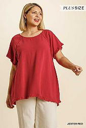 Short Sleeve Pintuck Round Neck High Low Top
