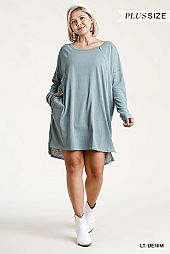 Long Raglan Sleeve Round Neck Raw Edged Detail Dress