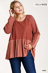 Raw and Frayed Edged Detail Babydoll Top
