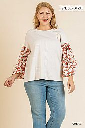 FLORAL BURNOUT PUFF SLEEVE WAFFLE KNIT TOP