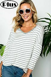 STRIPE JERSEY V NECK 3/4 SLEEVE HOODIE PLUS TOP