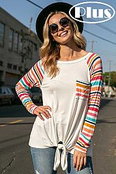 MULTI STRIPE SOLID MIX FRONT TIE BOTTOM PLUS TOP